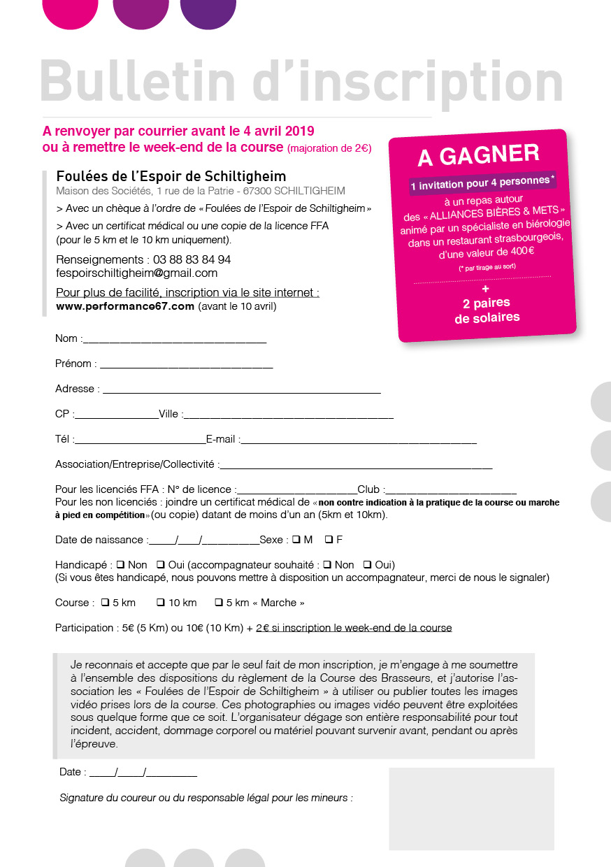 Bulletin d'inscription CDB 2019
