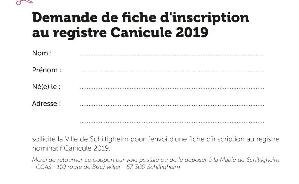 Formulaire d'inscription au Plan Canicule 2019