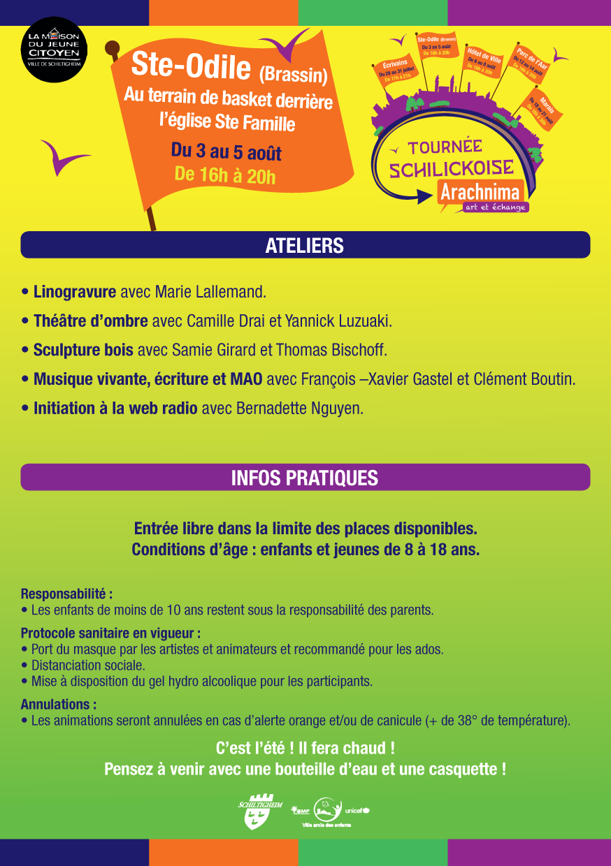 Programme Tournée Arachnima – Quartier Sainte-Odile