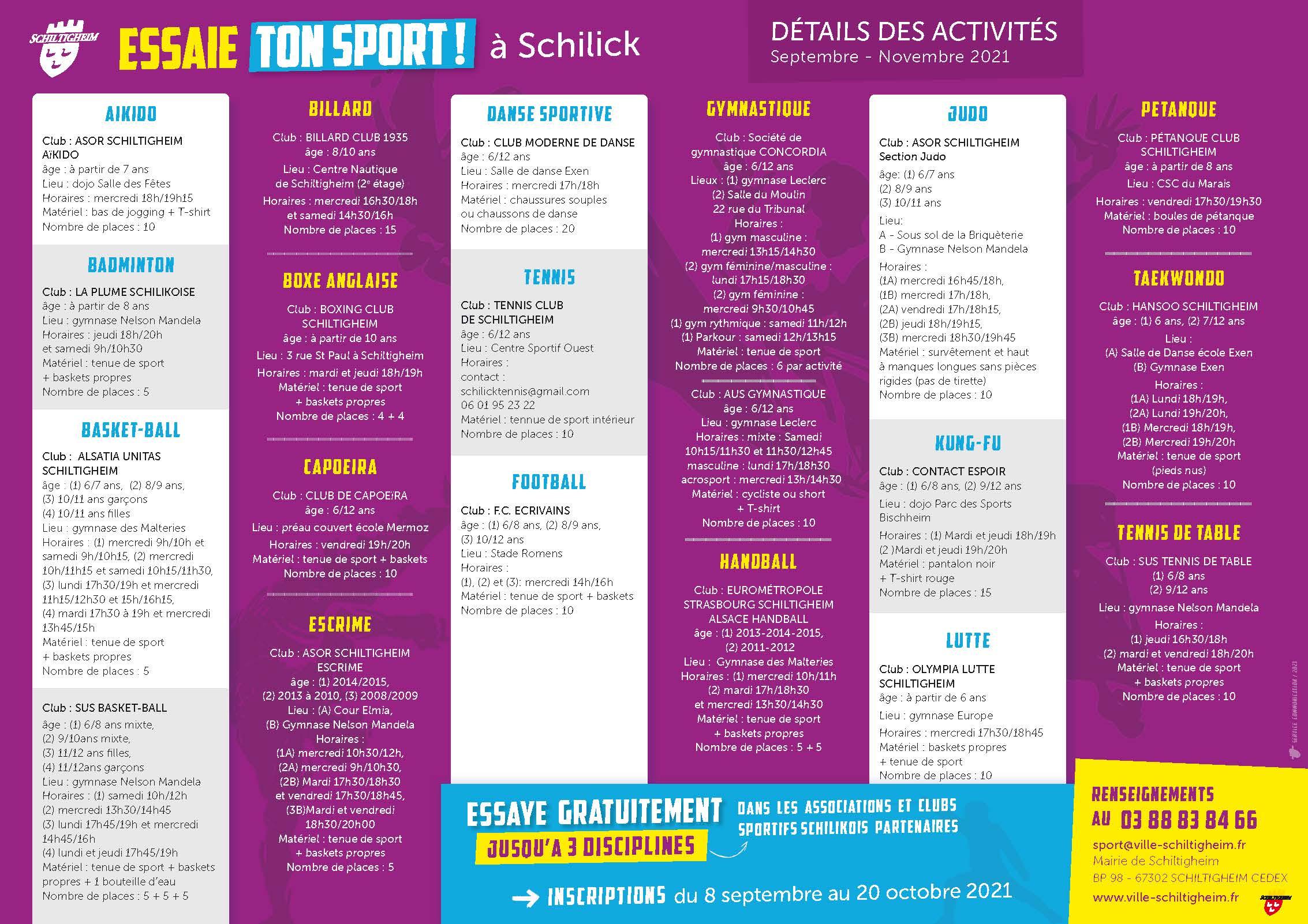 Détails des activités Essaie ton sport – Septembre 2021